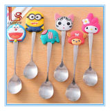 Cute Cartoon Silicone Stainless Steel Coffee Soup Spoons