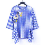 New Style Customized Casual 3/4 Sleeve Blouse Designs Embroidery Plaid Ladies Blouse
