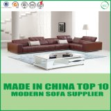 Top Grade Stainless Steel Foot Leather Sofa Bed