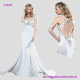 Glamour Sheath Evening Gown with Beaded Embellishment Enhanced The Plunging V Neckline Complete and Criss-Cross Beaded Back