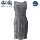 Black Sleeveless Perspective Lace Sexy Ladies Dress