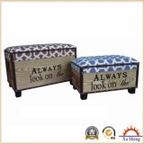 2-PC Upholstery Fabric Rectangular Storage Ottoman Trunk