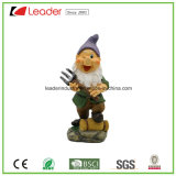 Best-Seller Polyresin Dwarf Figurine with a Rake for Garden Ornaments