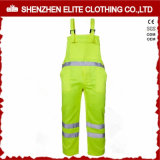 Men High Visibility Fluorescent Green Bib Overalls