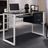 Home Office Furniture Glass Computer Desk for Office Study with Keyboard and Drawer