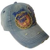 Washed Denim Cap with Applique #08