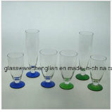 Drinking Glass Cup with Colorful Base (B-C012)