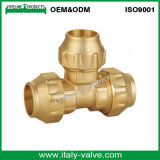 Forging Brass Compression End Equal Tee for PE Fitting