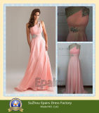 Elegant One Shoulder Chiffon Beaded Ladies Fashion Gown Real Evening Prom Dress (CL42)