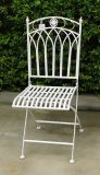 Folding Metal Square Chair Antique White Wrought Iron Gaden Furniture