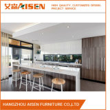 White Glossy Lacquer Mixed Wooden Color Modern Kitchen Cabinet