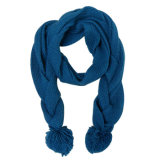 Lady Pashmina Acrylic Knitted Fashion Scarf with POM-Poms (YKY4166)