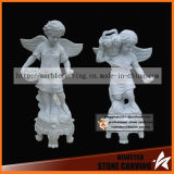Stone Artwork White Marble Child Angel Statues Picking Fruit in Garden
