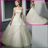 A-Line Strapless Bridal Wholesale Customized Lace Wedding Dress A334
