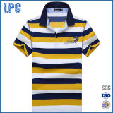 Wholesale Men Cotton Striped Polo Shirt in Yellow