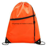 Polypropylene Promotional Drawstring Sports Backpack Bag, with Zipper Pocket