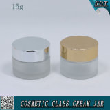 15ml 1/2 Oz Frosted Cosmetic Glass Jar for Face Cream with Metal Lid