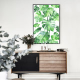 Modern Palmate Plants Canvas Print with Frame