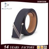 Brushed Metal Buckle Genuine Cowhide Black Leather Men Waist Belt