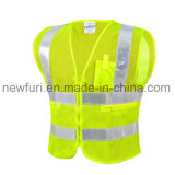 Mesh Reflective Safety Jacket with Zipper Pockets High Visibility Vest