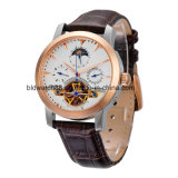 Automatic Mechanical Tourbillon Skeleton Moon Phase Brown Leather Mens Sport Watch