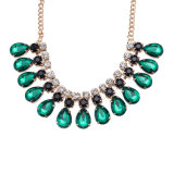 Glass Stone Women Crystal Necklace Green Crystal Water Shape Necklace