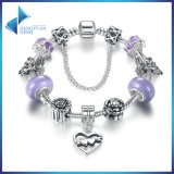 Heart to Heart Pendant & Safety Chain Purple Murano Beads Bracelets Jewelry