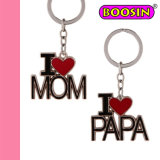 I Love Mom & Papa Keychain / Mom Keyrings / Metal Keychain