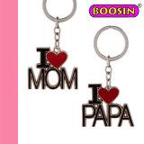 I Love Mom & Papa Keychain / Mom Keyrings / Metal Keychain