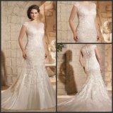 Lace Tulle Bridal Wedding Gown Plus Size Beads Sheath Wedding Dress Jt3188