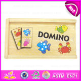 2015 Preschool Educational Wooden Toys Domino, Happy Pairing Set Children Domino Blocks, Wooden Domino Set with Promotions W15A021