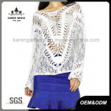 Fashion Wide Neckline Hollow Lace Crochet Sweater