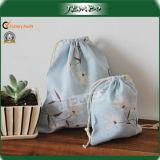 Blue Printing Travel Cotton Drawstring Bag