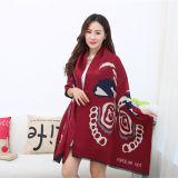Lady Fashion Acrylic Woven Fringed Jacquard Winter Shawl (YKY4447)
