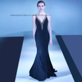 Lovemay V-Neck Beading Party Prom Gown Long Black Evening Dresses