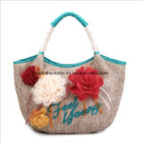 Straw Fashion Bag with Flowers (0619)