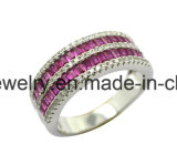 High Quality 925 Silver Jewelry Rectangle Corundum Htosale Ring