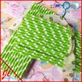 Green Stripe Paper Milkshake Straws Drinking Straws