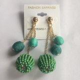 Green Thread Ball Earring Metal Tassel Fashion Jewelry