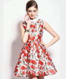 OEM High Quality Flower Print Sleeveless Summer Women Dress
