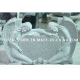 American Grey Granite Stone Heart Tombstone / Headstone with Angel