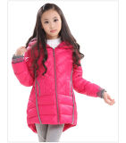 Girl′s Winter Down Jacket with Fur Ear on Hood