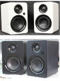 Powered Bluetooth Bookshelf Speakers - 3.5 RCA and Optical Input - Wireless Studio Monitors - 4 Inch Near Field Speaker - 42W RMS - Wood Grain (Wood)
