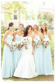 Sky Blue Strapless Long Chiffon Bridesmaid Dress Yao180