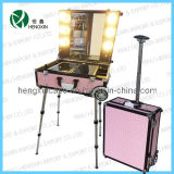 Aluminum Rolling Trolley Makeup Case Station with Lights (HX-C1101)