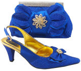 Women Dress Shoes Matching Bag---- Fashion and High Heel Csb1014-Blue