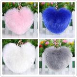 Heart Shape POM POM Fur Charm Key Ring
