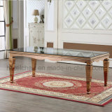 China Rose Gold Glass Top Stainless Steel Dining Table and Chairs