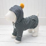 Navy Stripe Pet Dog Hoodie with POM POM and Pocket