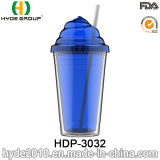 22oz Wholesale Double Wall Ice Cream Cup, Customized Plastic Tumber with Straw (HDP-3032)